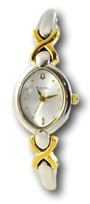 Bulova Women's 98L119 Two-Tone Gold Stainless Silver Dial Bangle Watch