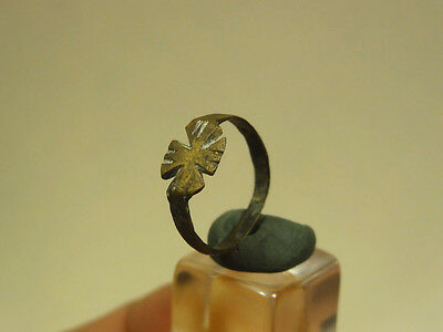 Ancient Bronze Cross Ring Small Size Byzantine 400-600 Ad