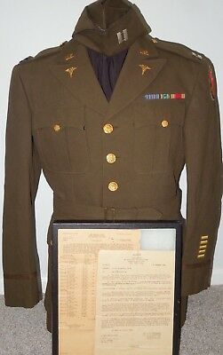 WWII US Army 298th General Hospital Officer's NAMED Uniform Group Psychiatrist