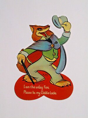 Vintage Mechanical Diecut Valentine Card, Fox with Tophat, 1939 WDP, U.S.A.