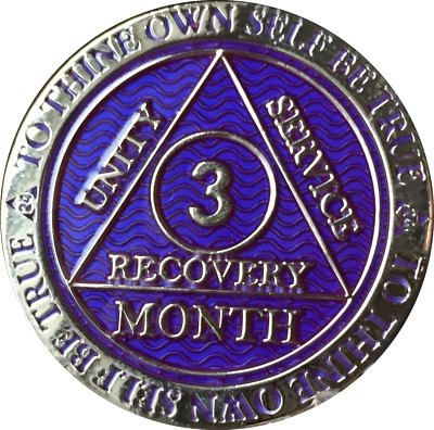 3 Month AA Medallion Reflex Purple Silver Plated Sobriety 90 Day Chip Coin