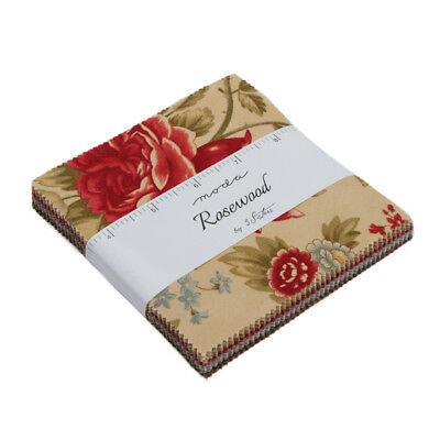 """Charm Pack~Rosewood~Moda Fabric~42-5""""squares~3 Sisters~44180Pp~Floral"""