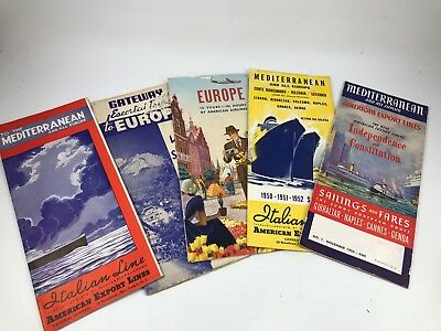Lot Of 5 Vintage 1940'S-50'S Era Travel Brochures For Europe & The Mediterranean