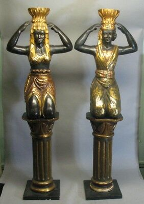 "Fine 60"" Pair of 19th C. Italian Blackamoors on Pedestals   Excellent Condition"