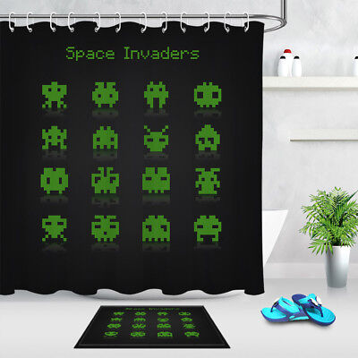 """Abstract Space Invaders Pixel Game -72"""" Bathroom Set Fabric Shower Curtain Hooks"""