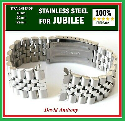 CHOOSE 18mm 20mm OR 22mm JUBILEE LINK WATCH BRACELET. STRAIGHT ENDS.GOOD QUALITY