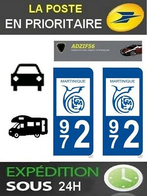 2 Stickers Plaque Auto Immatriculation Departement 972 Blason Region Outre Mer