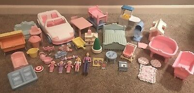 1991 Lot Vintage Playskool Dollhouse Doll House Accessories