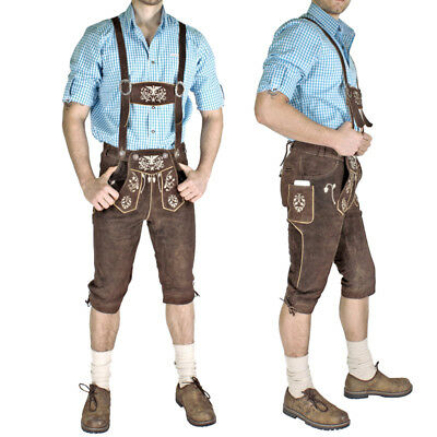 Engelleiter Men's Traditional Garb Eagle Leather Pants with Suspenders +