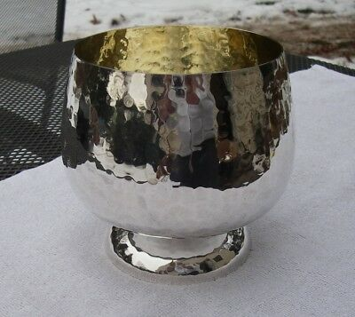 Vintage CALEGARO ITALY Hammered Silverplate SNIFTER FORM BOWL-NR