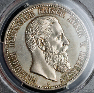 1888, Prussia/Germany (Empire), Frederick III. Silver 5 Mark Coin. PCGS MS-62!