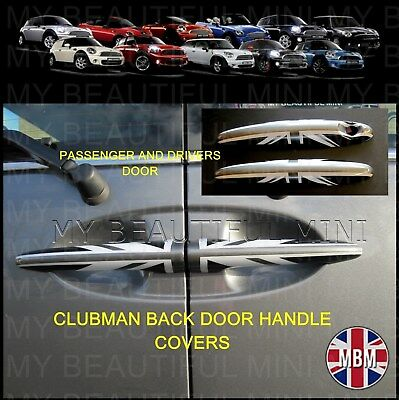 BMW MINI CLUBMAN R55 Cooper/S ONE BLACK UNION JACK Door HandleCovers Set of FOUR
