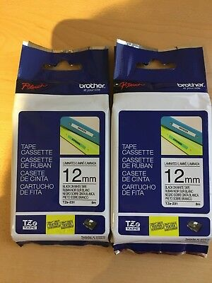2 pack Brother P-Touch genuine original TZe-231 BLACK ON WHITE Label Tape
