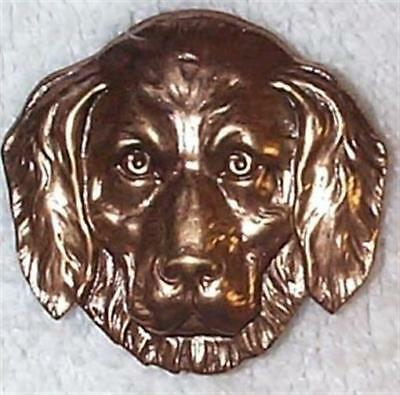 Vintage Rare 1930's Rich Patina Full Face Dog Head Brass Stampings Findings 5 Pc