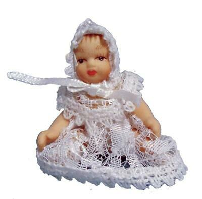 Melody Jane Dolls House Victorian Baby in White Lace Miniature Porcelain People