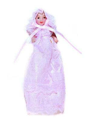 Melody Jane Dolls House Victorian Baby Girl in Pink Christening Gown Miniature