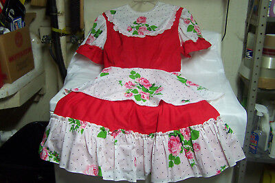 NWOT Handmade Ladies Red & White Square Dancing Dress, Size 10/12