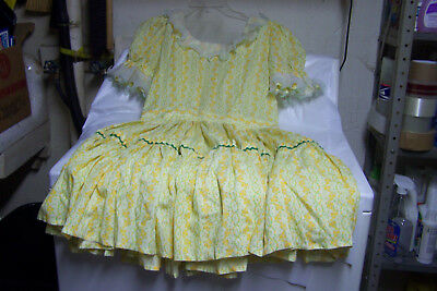 Beautiful Hand Made Yellow Floral Print Square Dancing Dress, Size 12