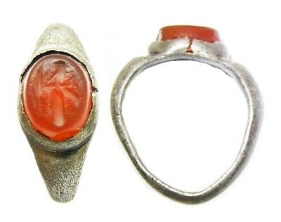 2nd - 3rd century A.D. Excavated Roman Silver Intaglio Ring of a Standing Figure