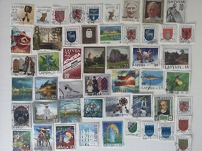50 Different Latvia Stamp Collection - Post 1991