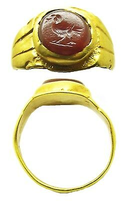3rd century A.D. Nice Early Christian Roman Gold Intaglio Ring of a Dove Size 6