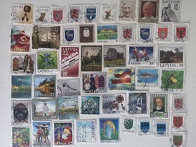 250 Different Latvia Stamp Collection - Post 1991