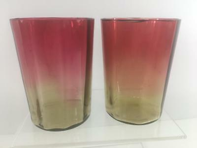 Amberina Antique Glass 6 oz Tumbler Set 2 New England Mt Washington Panel Facet