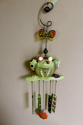 FROG WIND CHIME GARDEN COTTAGE CABIN COUNTRY 20 IN. garden patch Ladybug on nose