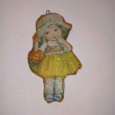 Little GIrl With Jack O lantern Candle  Halloween Glitter Wood Ornament