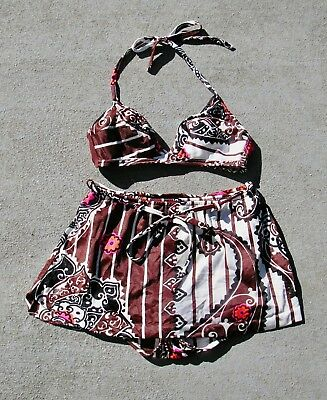 Vintage 1980s Floral Hawaiian KAMEHAMEHA Two Piece Bathing Suite - Sz 14