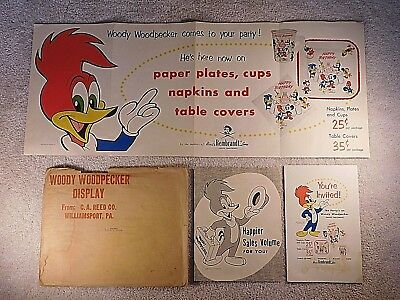 Vintage 1958 Woody Woodpecker Birthday Party Supply Advertisement Poster / Kit