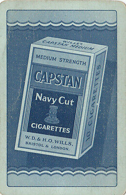 Cigarette tobacco advertising W D & H O Wills CAPSTAN navy cut playing swap card