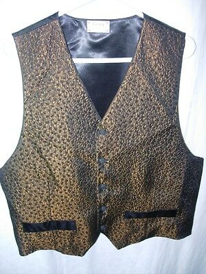 MENS BROWN BLACK VINTAGE Steampunk Edwardian WAISTCOAT Brocade Gothic Vest L 44