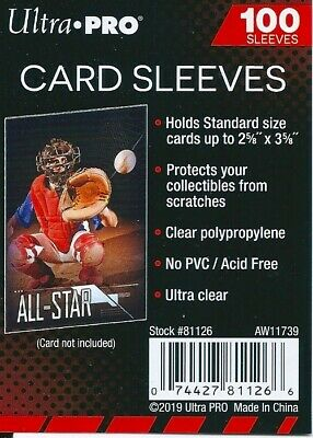 "ultra pro card sleeves 2 5/8"" x 3 5/8"" 100 pack"