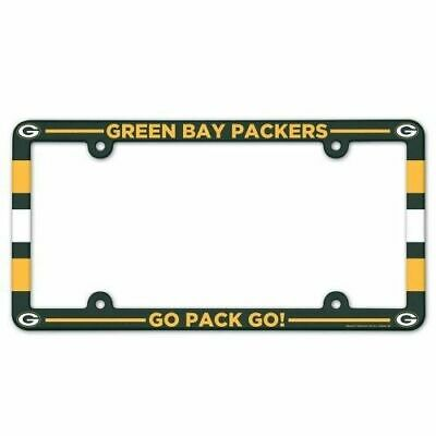 2 Green Bay Packers Color Car Auto Plastic License Plate Tag Frame Nfl Football