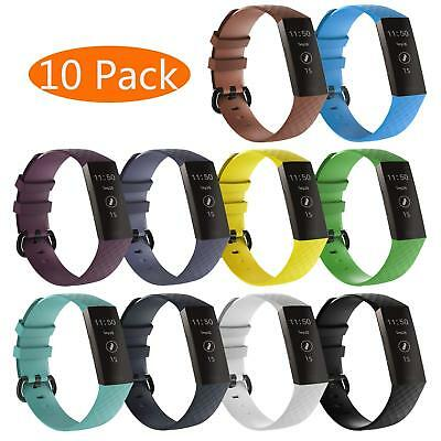 10 Pack Replacement Band With Metal Buckle Wristbands Strap for Fitbit Charge 3