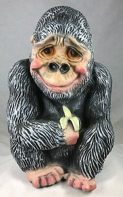 "Mexico Chalkware Gorilla Ape Vintage Bank Carnival Plaster Big Monkey 13"" tall"