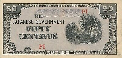 Currency Japan Philippines 1942 WWII Occupation 50 Centavos Bank Note Circulated