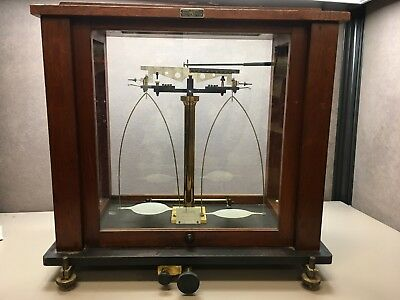 VOLAND & SONS MAHOGANY-CASED diamond BALANCE SCALE by Central Scientific Chicago