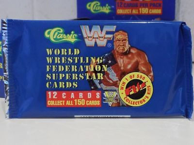 Wwf Classic Superstar Trading Cards Unopened Packet Wrestling 1991 Blue Wwe Wcw