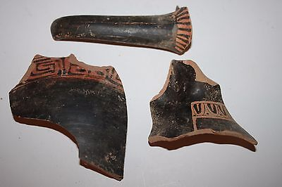 3 ANCIENT GREEK POTTERY RED FIGURE AMPHORA SHARDS 4th CENTURY BC