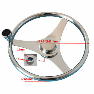 """13-1/2"""" Sports Steering Wheel Stainless Steel With Knob For Marine Boat Yacht"""