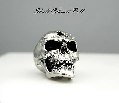 Chrome Skull Door Drawer Cabinet Wardrobe Pull Handle Knob toolbox hardware gift