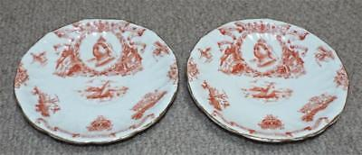 Pair of Antique 1897 Queen Victoria Diamond Jubilee Commemorative Saucers -Sport