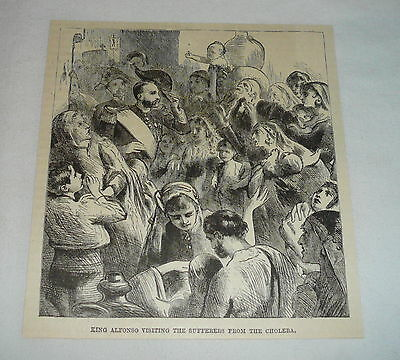 1886 magazine engraving ~ KING ALFONSO VISITING CHOLERA VICTIMS