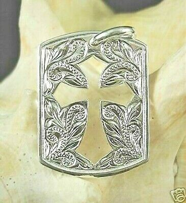 20MM HAWAIIAN SOLID 925 STER SILVER HAND ENGRAVED SCROLLS FUSILLY CROSS PENDANT