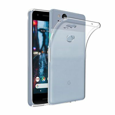 For Google Pixel 2 Clear Gel Case Phone Cover and Glass Screen Protector