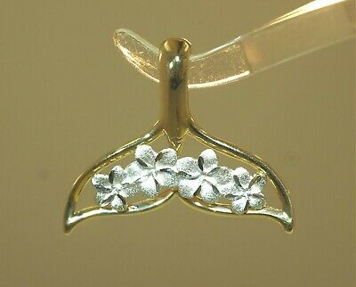 36mm Hawaiian Sterling Silver DC Diamond-Cut Brushed Whale Tail Flukes Pendant