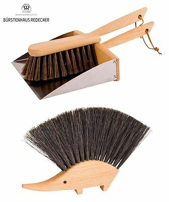 Redecker Wooden Wood Sweeping Dustpan & Brush Set or Hedgehog Table Brush