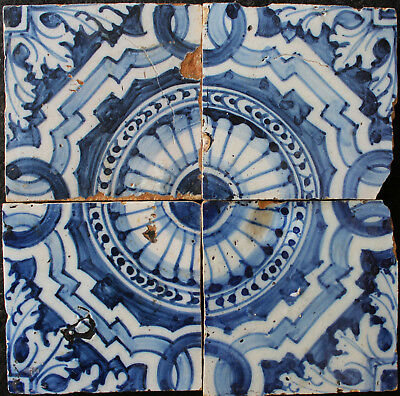 4 Portuguese blue and white antique tiles from 17th Century ferronneries pattern